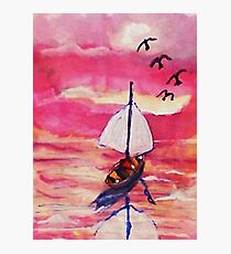 Pink sunset  #1, revised, watercolor Photographic Print