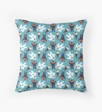Yukon, Hermey and the Bumble in Teal Throw Pillow