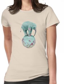 Mauve flowers on turquoise sky background Womens Fitted T-Shirt