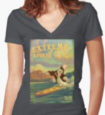 Retro Surf Women's Fitted V-Neck T-Shirt