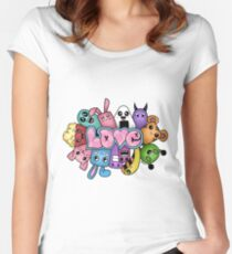 Doodle love - Colors /White Background Women's Fitted Scoop T-Shirt
