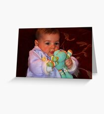 """""""Parker , enjoying his little Toy...."""" Greeting Card"""