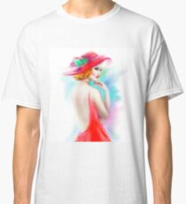 beautiful woman in red hat and a dress Classic T-Shirt