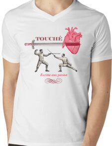 Fencing Touche Heart Mens V-Neck T-Shirt