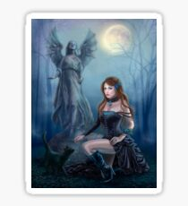 Fantasy beautiful woman with black cat about a statue. wood at night.  Sticker