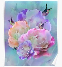 Pastel And Pink Tones Roses Photo Manipulation Poster
