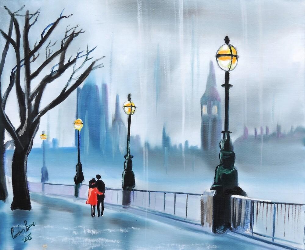 Rainy day in London red umbrella by GORDON BRUCE ART