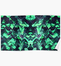 Abstract Surreal Chaos theory in Modern poison turquoise green Poster