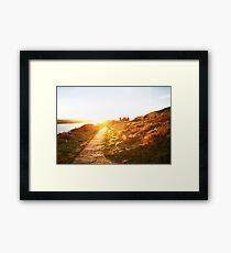 Sunset walk near coast in Wales, United Kingdom Framed Print