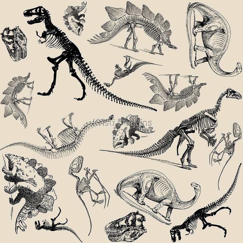 Vintage Museum Dinosaurs and Skeletons on Cream  by Kristi Duggins
