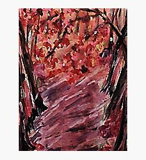 Fall in the woods, watercolor Photographic Print
