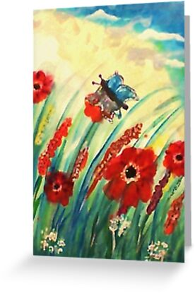 Poppies in the breeze, watercolor by Anna  Lewis, blind artist