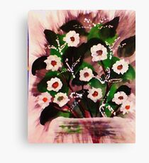 Vase of white flowers, watercolor Canvas Print