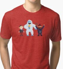 Yukon, Hermey and the Bumble in Teal Tri-blend T-Shirt