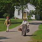 Returning home from church by Johannes  Huntjens