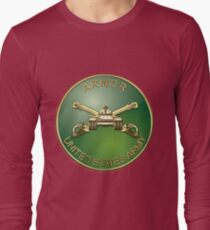 U.S. Army Armor - Branch Insignia over Red Velvet Long Sleeve T-Shirt