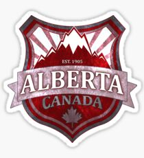 Alberta Canada red grunge shield Sticker