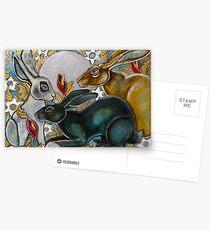 Three Moon Gazing Hares Postcards