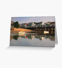 Sailboats and Provincetown Harbor Waterfront  Greeting Card
