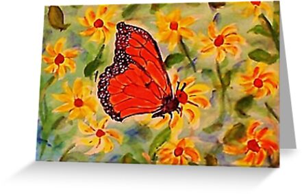 Monarch in the flowers, revised, watercolor by Anna  Lewis, blind artist