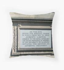 Tribute to Joseph Lister Throw Pillow