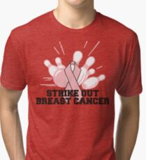 Strike Out Breast Cancer Bowling T-Shirt Tri-blend T-Shirt
