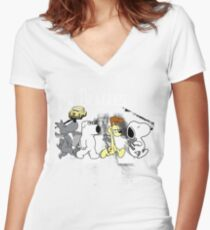The Beagles Women's Fitted V-Neck T-Shirt