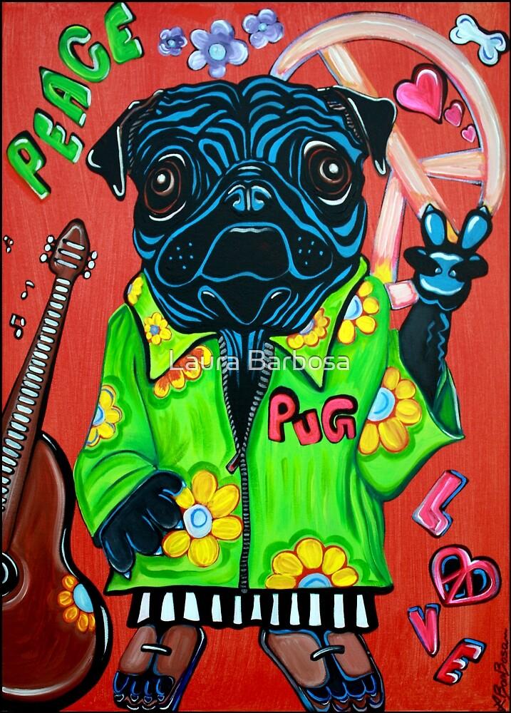 Pugs Love Peace by Laura Barbosa