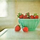 Strawberries in Turquoise Bowl by Suzanne Cummings
