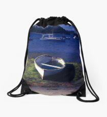 Boats on a lake Drawstring Bag