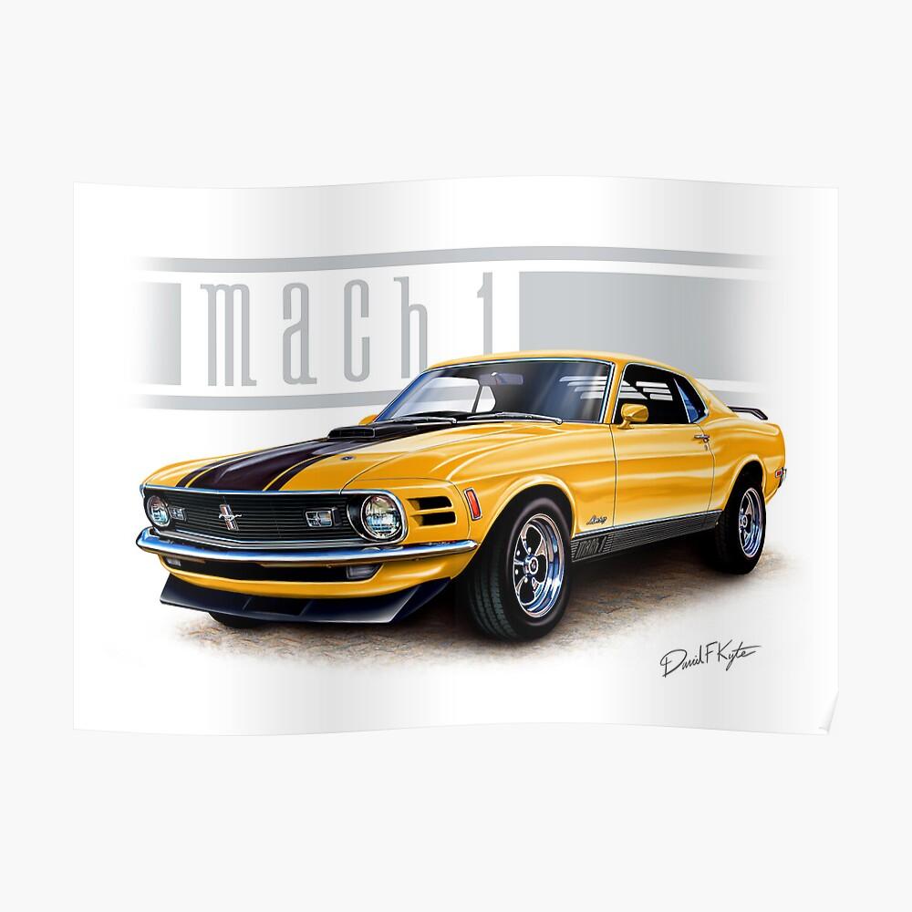 Mustang mach 1 1970 in grabber orange poster
