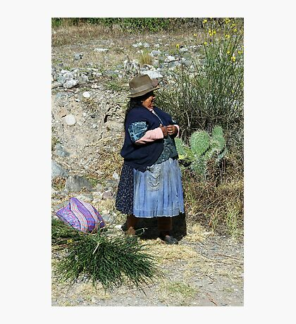 Peruvian woman and prickly pear Photographic Print