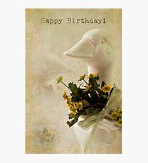 Duck And Yellow Daisy Birthday Card  Photographic Print