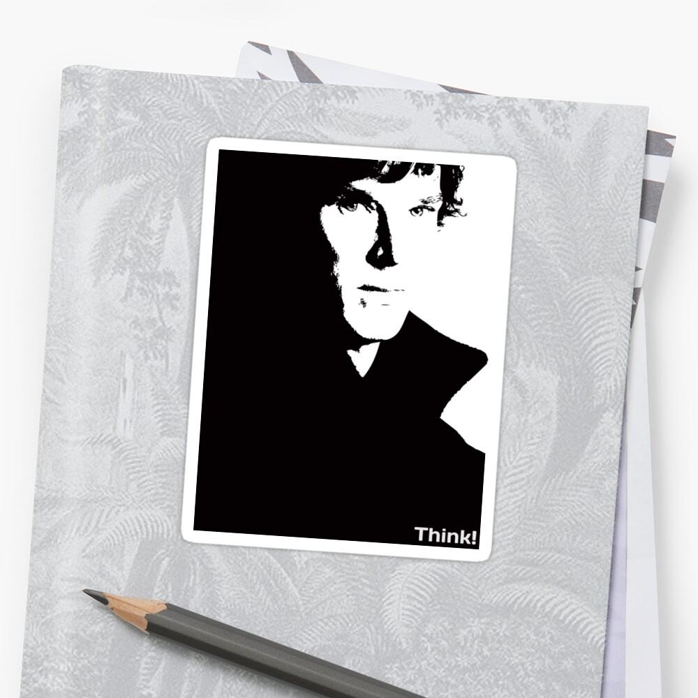 """Sherlock """"THINK!"""" V-Neck T-shirt by hazelbasil"""