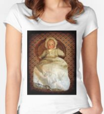 ANTIQUE VINTAGE DOLL-PILLOW-JOURNAL-TOTE BAG-PICTURE-ECT. Women's Fitted Scoop T-Shirt