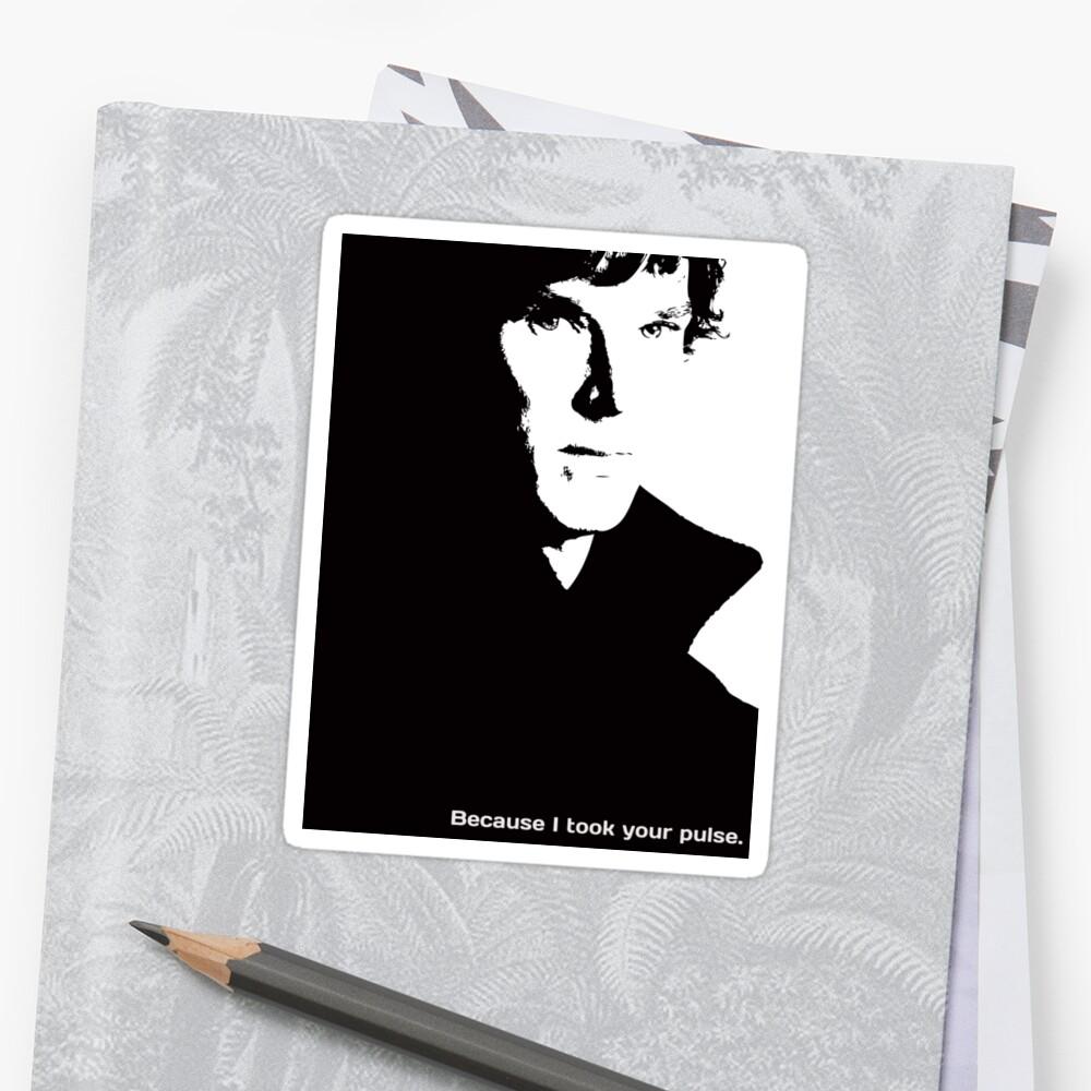 "Sherlock ""Because I took your pulse"" V-neck T-shirt by hazelbasil"