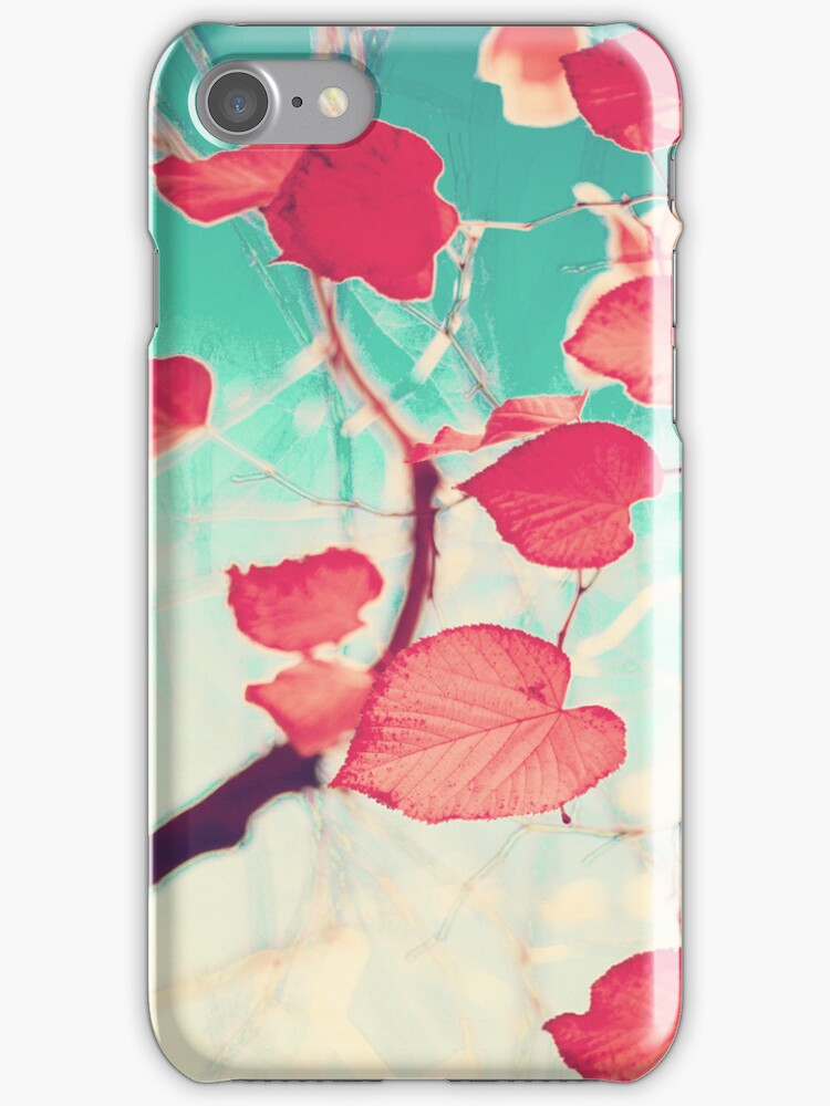 Our hearts are autumn leaves waiting to fall (Pink - Red fall leafs and brilliant retro blue sky) by Caroline Mint