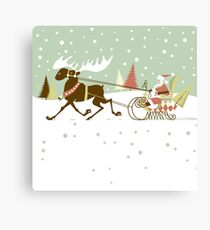 Retro christmas illustration smart and reindeer Canvas Print