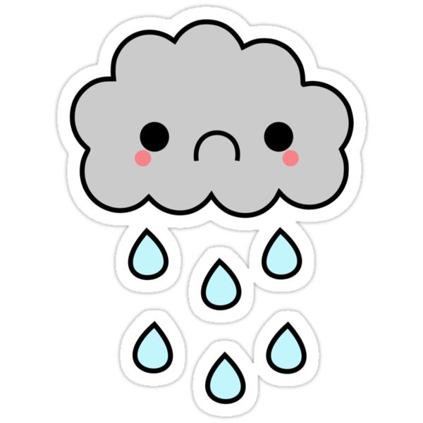 9209369 Adorable Kawaii Sad Rainy Storm Cloud on Spiral Border Clip Art