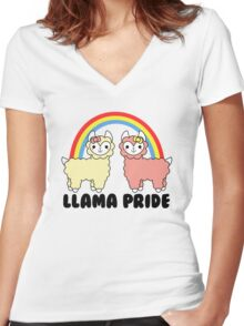 Adorable Llama Pride Black Lettering Women's Fitted V-Neck T-Shirt