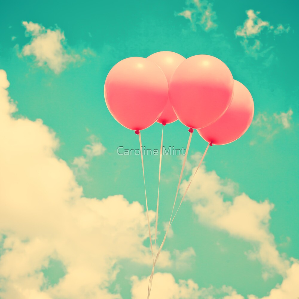 Balloons in the sky (pink ballons in retro blue sky) by Caroline Mint