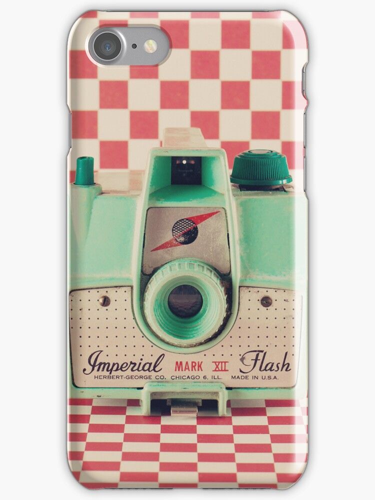 Mint Retro Camera on Red Chequered Background  by Caroline Mint
