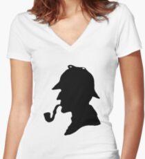 Sherlock Holmes Silhouette Women's Fitted V-Neck T-Shirt