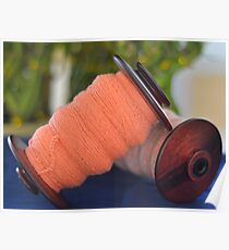 Spinning wheel bobbins orange yarn Poster