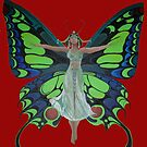 Art Nouveau Vintage Flapper With Butterfly Wings by taiche