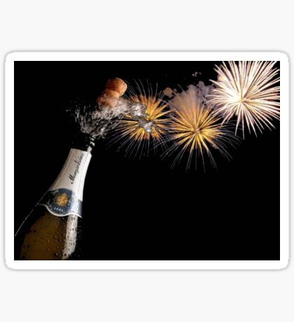 Champagne And Fireworks Celebration Sticker