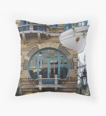 """ART NOUVEAU"" WINDOW and BOAT BALCONY ANTWERP   Throw Pillow"