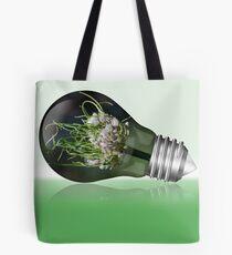 Leek flower inside a light bulb Tote Bag