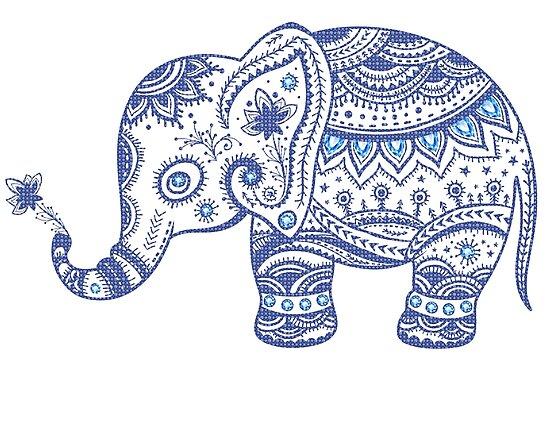 Cute Navy Blue Retro Floral Elephant by artonwear