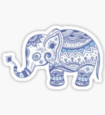 Cute Navy Blue Retro Floral Elephant Sticker